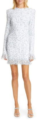 Balmain Fringe Metallic Tweed Long Sleeve Minidress
