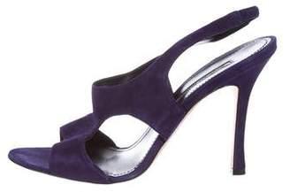 Manolo Blahnik Suede Caged Sandals