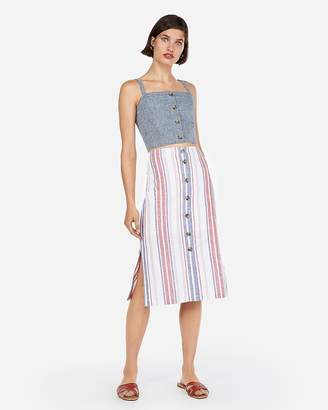 Express High Waisted Stripe Button Front Midi Skirt