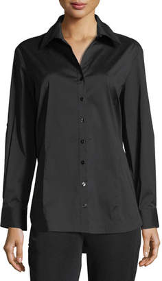 Misook Long-Sleeve Button-Front Shirt, Petite
