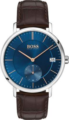 BOSS Leather Strap Watch, 40mm