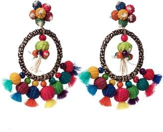 Casa Chiqui Oversized Woven Multicolor Earrings