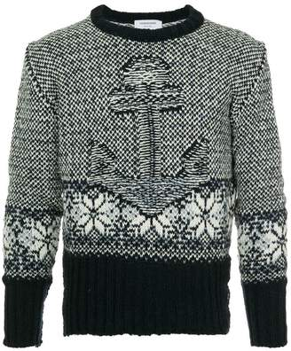 Thom Browne embroidered long-sleeve sweater