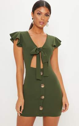 PrettyLittleThing Khaki Tie Front Button Detail Mini Dress