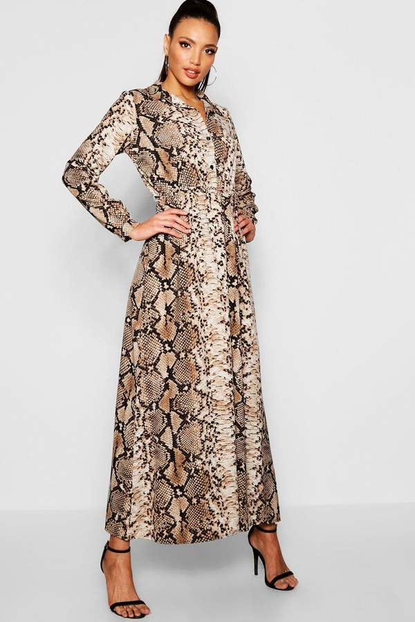 Snake Print Maxi Shirt Dress