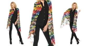 Tolani Tiles Brights White Grid Scarf 100% Pure Silk