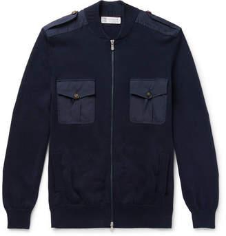 Brunello Cucinelli Knitted Cotton Zip-Up Sweater - Men - Navy