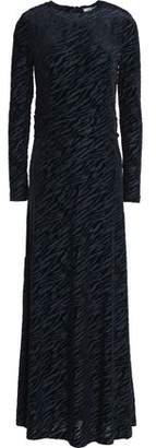 Ganni Flocked Zebra-Print Jersey Maxi Dress