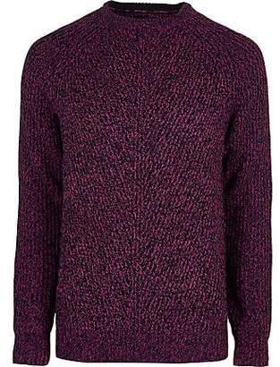 River Island Pink textured crew neck jumper