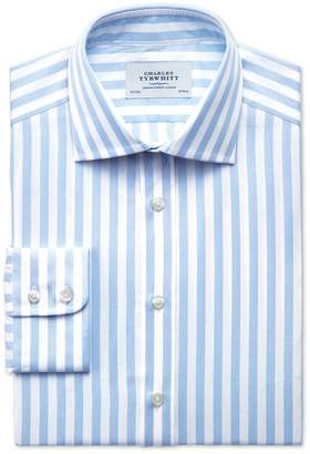 Charles Tyrwhitt Classic Fit Semi-Spread Collar Egyptian Cotton Stripe Sky Blue Dress Shirt Single Cuff Size 15.5/35