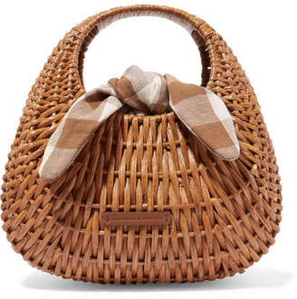 Loeffler Randall Lorna Rattan And Gingham Canvas Tote - Brown