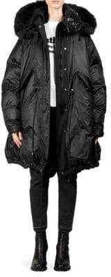 Sacai Down Faux Fur-Trimmed Puffer Coat