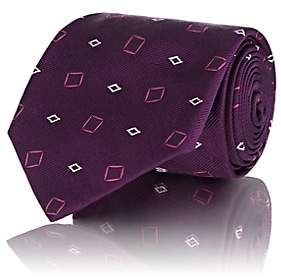 Fairfax MEN'S GEOMETRIC-PATTERN SILK NECKTIE-PURPLE