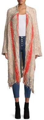 Free People Knitted Fringe Open Front Cardigan