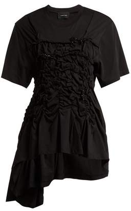 Simone Rocha Cotton Jersey Ruched Bead Embellished T Shirt - Womens - Black