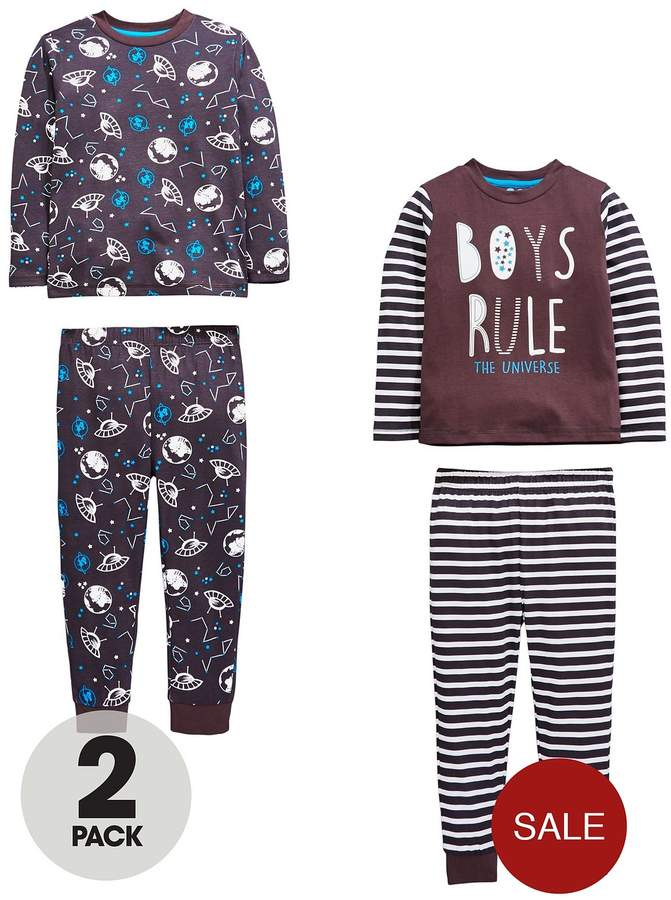 Mini V By Very Boys 2 Pack 'Rule The Universe' Pyjamas