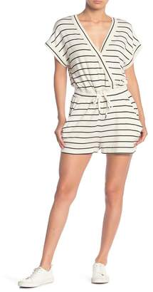Splendid Striped Surplice Neck Knit Romper
