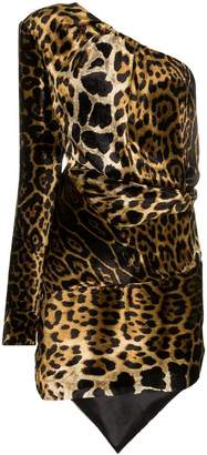 Saint Laurent one shoulder leopard print dress