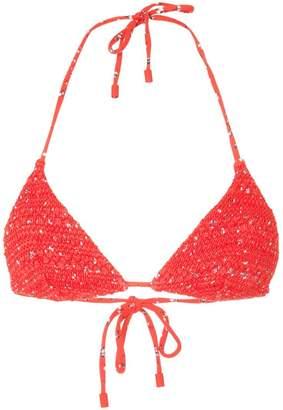 The Upside woven bikini top