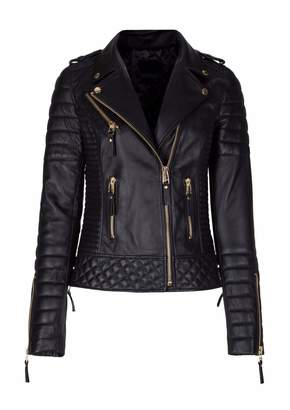 Leather Gallery Womens Genuine Lambskin Bomber Motorcycle Leather Jacket- M