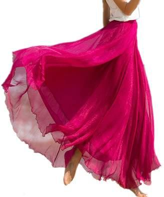 Emoyi Women Soft Vintage Bohemian Chiffon Maxi Bouffancy Long Skirt Beach Dress (L, )