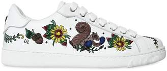 DSQUARED2 10mm Embroidered Leather Sneakers