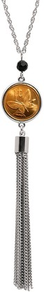 American Coin Treasures Butterfly Coin Tassle Necklace