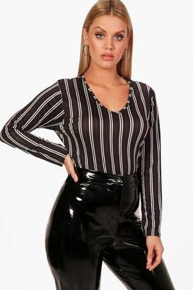 at boohoo boohoo Plus Emma Stripe V Neck Bodysuit