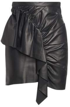 Isabel Marant Nela Leather Ruffle Mini Skirt