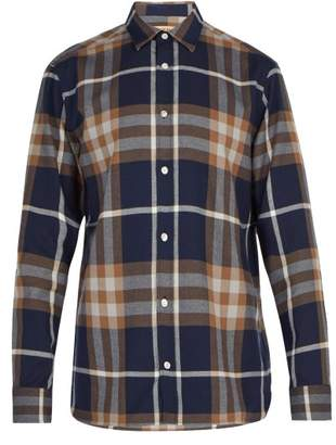 Burberry Richard Checked Cotton Flannel Shirt - Mens - Navy Multi