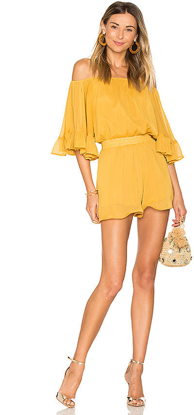 Endless Rose Ruffled Sleeve Romper in Yellow