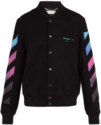 Off-White Diagonal Gradient print wool-blend varsity jacket