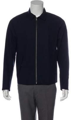 Vince Leather-Trimmed Zip-Up Jacket