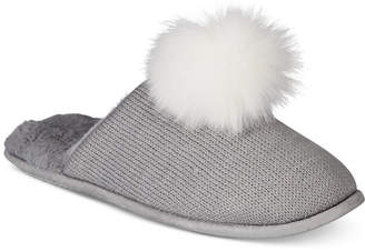 INC International Concepts I.n.c. Pom Pom Knit Slippers