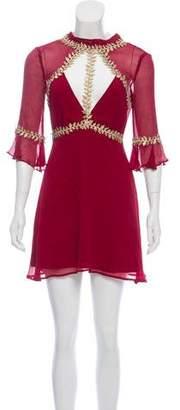 For Love & Lemons Long Sleeve Silk-Blend Dress