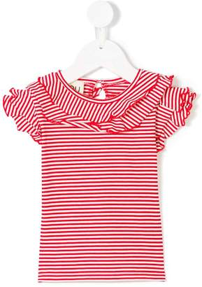 Douuod Kids striped ruffle sleeve T-shirt
