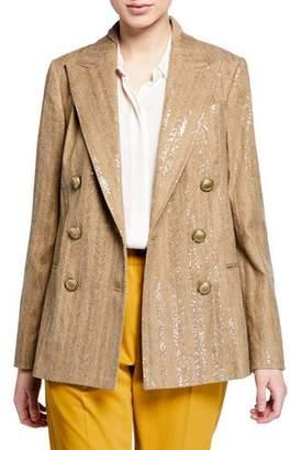 Brunello Cucinelli Chevron Striped Cotton-Linen Sequined Jacket