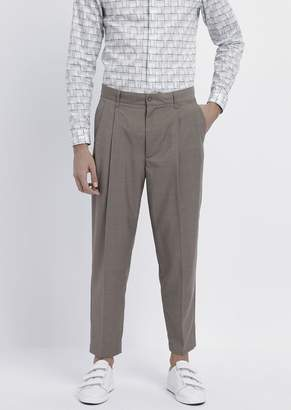 Emporio Armani Oversized Pants With Pleats And Light Wool