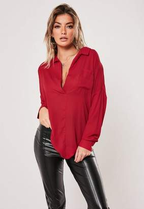 Missguided Red Oversized Plunge Long Tunic