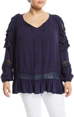 Lumie Cold-Shoulder Crochet-Trim Peasant Blouse, Plus Size