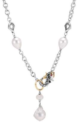 """John Hardy 18K Yellow Gold & Sterling Silver Legends Naga Necklace with Cultured Saltwater Baroque Pearls, White Moonstone & African Ruby Eyes, 18"""""""