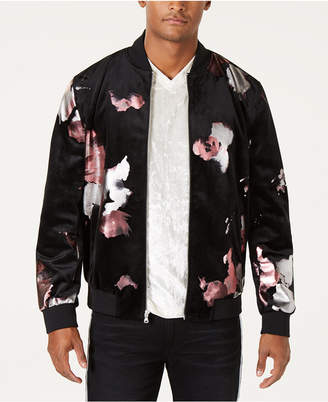 INC International Concepts I.n.c. Men Abstract Floral Bomber Jacket