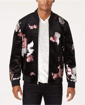 INC International Concepts I.n.c. Men Abstract Floral Bomber Jacket