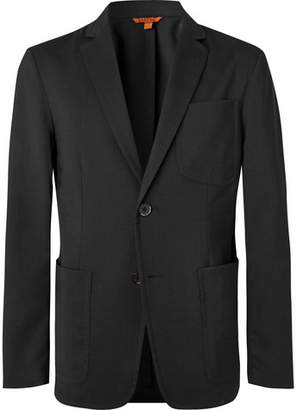 Grey Prince Of Wales Checked Stretch-Virgin Wool Suit Jacket