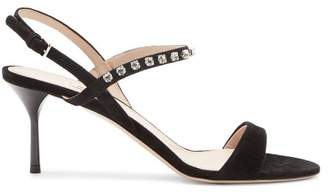 Miu Miu Crystal Embellished Suede Sandals - Womens - Black