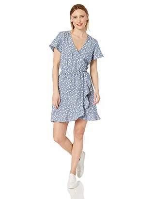 J.Crew Mercantile Women's Short-Sleeve Floral Chambray Ruffle Wrap Dress