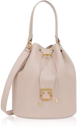 Furla Corona M Drawstring Leather Bucket Bag