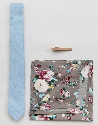 Peter Werth Skinny Tie Pocket Square & Tie bar