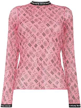 Aries sheer monogram top