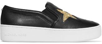MICHAEL Michael Kors - Pia Glittered Textured-leather Slip-on Sneakers - Black $130 thestylecure.com